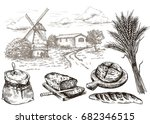 windmill and fresh bakery... | Shutterstock .eps vector #682346515