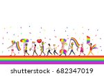 crowd of people with rainbow... | Shutterstock .eps vector #682347019