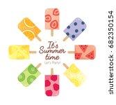set of various fresh homemade... | Shutterstock .eps vector #682350154