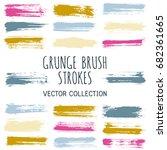 vector paint brush spots ... | Shutterstock .eps vector #682361665