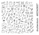 home related trendy doodles.... | Shutterstock . vector #682363837