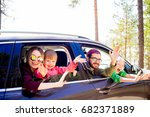 family in a car | Shutterstock . vector #682371889
