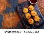 breaded mozzarella cheese balls ... | Shutterstock . vector #682372165