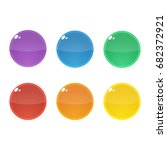 set of six colorful round ...