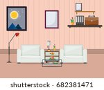 modern living room  flat design ... | Shutterstock .eps vector #682381471