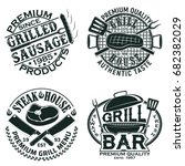 set of vintage barbecue... | Shutterstock .eps vector #682382029