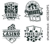 set of vintage casino logo...   Shutterstock .eps vector #682382491