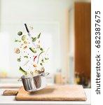 flying cooking ingredients for... | Shutterstock . vector #682387675