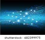 future technology  blue cyber... | Shutterstock .eps vector #682399975