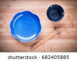 top view of empty ceramic dish... | Shutterstock . vector #682405885