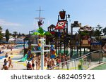 Small photo of BARCELONA, SPAIN - AUGUST 30, 2014: Laberint Pitara attraction at Illa Fantasia Water Park. Park contains 22 Attractions, 3 giant swimming pools