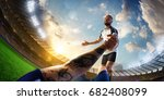 soccer player in action fish... | Shutterstock . vector #682408099