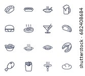 set of 16 dish outline icons... | Shutterstock .eps vector #682408684