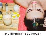 handsome woman receives an... | Shutterstock . vector #682409269