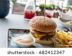 burger with french fries | Shutterstock . vector #682412347