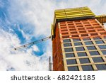 looking up at a construction...   Shutterstock . vector #682421185