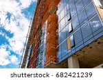 side of a highrise tower under... | Shutterstock . vector #682421239