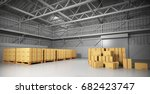 large trucking warehouse with... | Shutterstock . vector #682423747