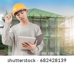 blurred engineer thinking about ... | Shutterstock . vector #682428139