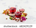 Red Herbal Tea In Glass Cups O...