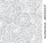 rose grey pattern. floral... | Shutterstock .eps vector #682433137
