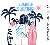 summer surfing illustration... | Shutterstock .eps vector #682436155