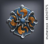 iron fantasy shield for game or ... | Shutterstock .eps vector #682437571