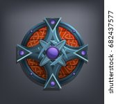 iron fantasy shield for game or ... | Shutterstock .eps vector #682437577