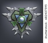 iron fantasy shield for game or ... | Shutterstock .eps vector #682437595