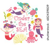 card with mermaid under the sea ... | Shutterstock .eps vector #682439839