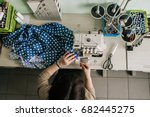 female seamstress working at... | Shutterstock . vector #682445275