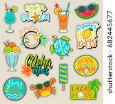 set of fashion patches  cute... | Shutterstock .eps vector #682445677
