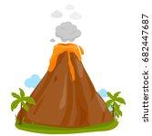 volcano erupting | Shutterstock .eps vector #682447687