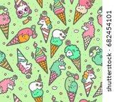 vector illustration of pop cute ... | Shutterstock .eps vector #682454101