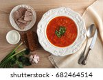 soup in a bowl with dill  sour... | Shutterstock . vector #682464514
