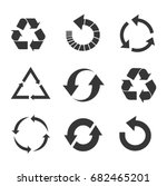 recycled eco vector icon set | Shutterstock .eps vector #682465201