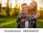 portrait of a happy young... | Shutterstock . vector #682466635