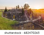 aerial view of hill of crosses  ... | Shutterstock . vector #682470265