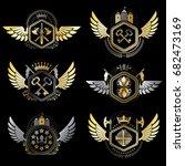 heraldic emblems with wings... | Shutterstock .eps vector #682473169
