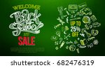 back to school sale with hand... | Shutterstock .eps vector #682476319