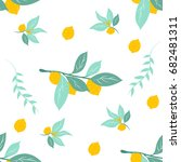 yellow lemon seamless pattern... | Shutterstock .eps vector #682481311