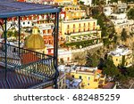 view at positano houses and... | Shutterstock . vector #682485259