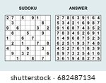 vector sudoku with answer 78.... | Shutterstock .eps vector #682487134