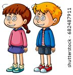 boy and girl with dizzy face... | Shutterstock .eps vector #682487911