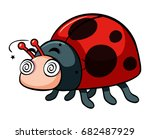 ladybug with dizzy face... | Shutterstock .eps vector #682487929
