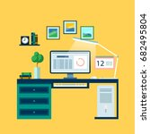 vector workplace with computer... | Shutterstock .eps vector #682495804