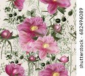 elegant flower vector pattern... | Shutterstock .eps vector #682496089