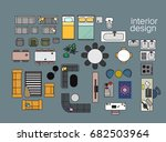 vector interior design floor... | Shutterstock .eps vector #682503964