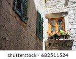 window with flowers  kotor ... | Shutterstock . vector #682511524
