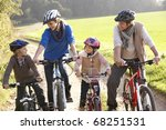 young family pose with  bikes... | Shutterstock . vector #68251531